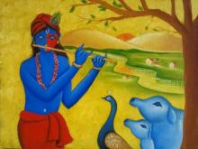 Religious Oil Art Painting title Krishna And Rising Sun 2 by artist Chetan Katigar