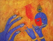 Religious Oil Art Painting title Krishna Love 2 by artist Chetan Katigar