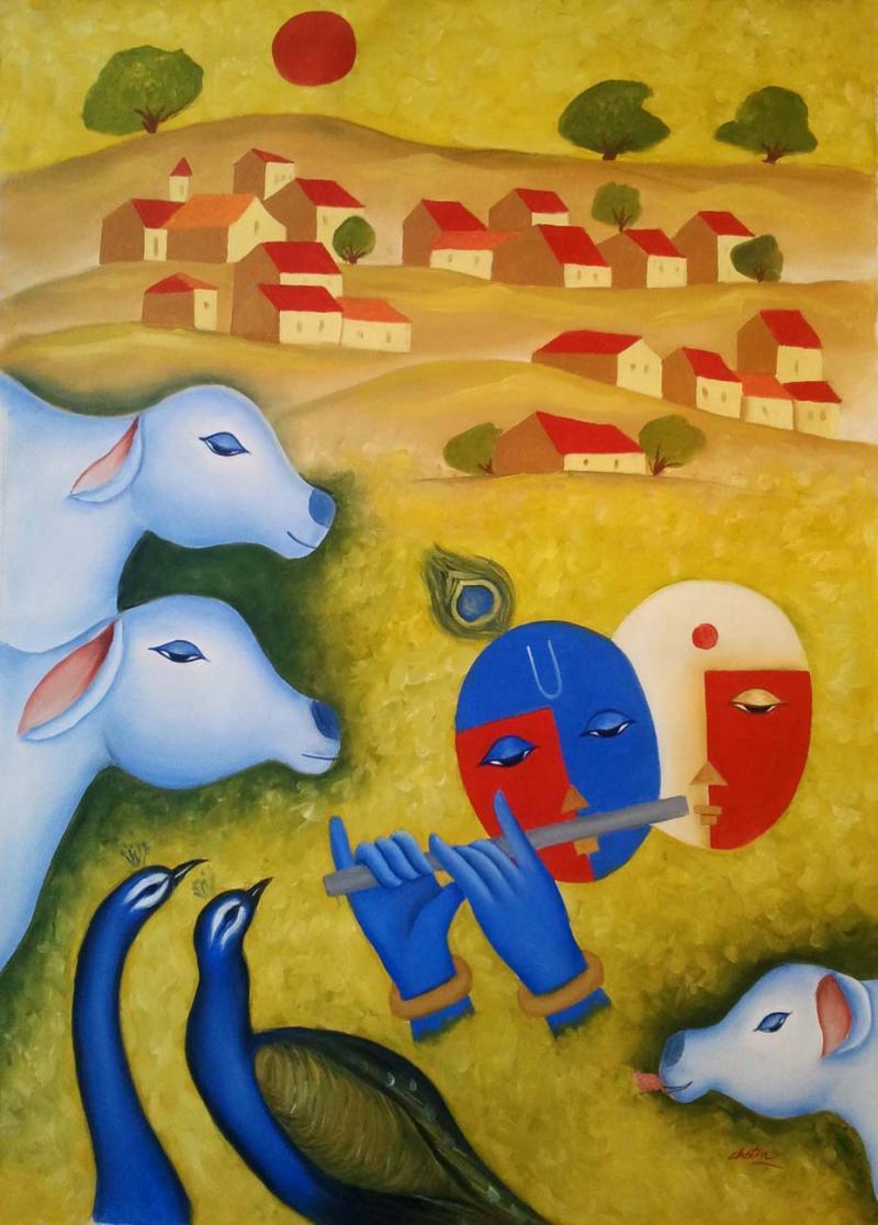 Radha Krishna Love 3 painting by Chetan Katigar   ArtZolo com