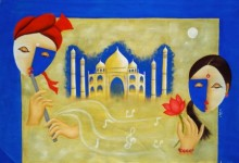 Abstract Oil Art Painting title Love by artist Chetan Katigar