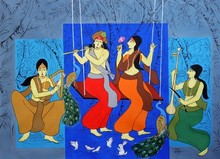 Religious Acrylic Art Painting title Murari by artist Chetan Katigar