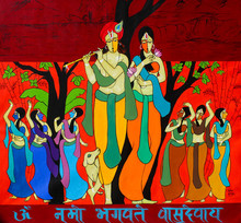 Figurative Acrylic Art Painting title Dance of divine by artist Chetan Katigar