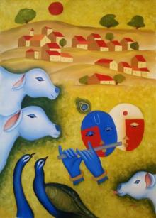 Religious Oil Art Painting title Radha Krishna Love 3 by artist Chetan Katigar