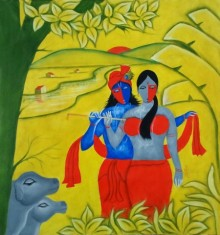 Religious Oil Art Painting title Radha Krishna 3 by artist Chetan Katigar