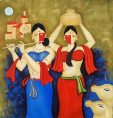 Religious Oil Art Painting title The Moon 2 by artist Chetan Katigar