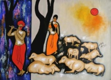 Chetan Katigar | Acrylic Painting title The Music Backon on Canvas | Artist Chetan Katigar Gallery | ArtZolo.com