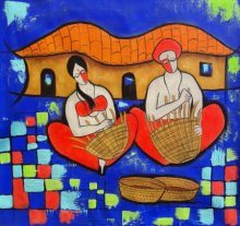 Chetan Katigar | Mixed-media Painting title Villager on canvas | Artist Chetan Katigar Gallery | ArtZolo.com