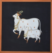Traditional Indian art title Pichwai 53 on Cotton Cloth - Pichwai Paintings