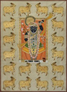 Folk Art Tribal Art Painting title 'Sreenathji with Cows Pichwai Art' by artist Artisan