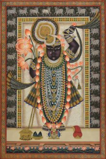 Folk Art Tribal Art Painting title 'Lord Sreenath ji Pichwai Art' by artist Artisan