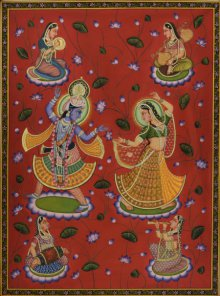 Folk Art Tribal Art Painting title 'Radhe Krishna Pichwai Art' by artist Artisan