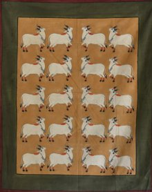 Folk Art Tribal Art Painting title 'Cows 2 Pichwai Art' by artist Artisan