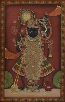 Folk Art Tribal Art Painting title 'Sreenathji 2 Pichwai Art' by artist Artisan