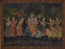 Folk Art Tribal Art Painting title 'Krishna Raas Leela Pichwai Art' by artist Artisan