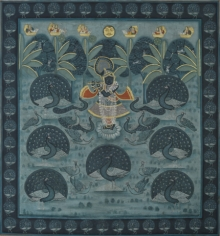 Traditional Indian art title Pichwai on Cotton Cloth - Pichwai Paintings