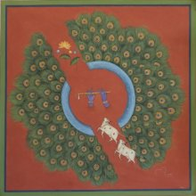 Religious Tribal Art Painting title Pichwai by artist Pushkar Lohar