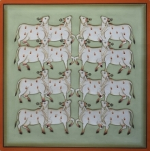 art, traditional, pichwai, cotton cloth, animal, cows