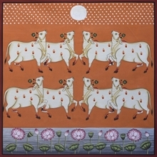 Traditional Indian art title Pichwai 13 on Cotton Cloth - Pichwai Paintings