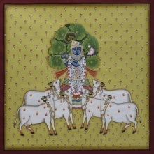 Traditional Indian art title Pichwai 14 on Cotton Cloth - Pichwai Paintings