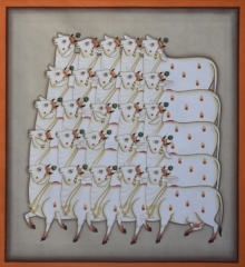 Traditional Indian art title Pichwai 15 on Cotton Cloth - Pichwai Paintings