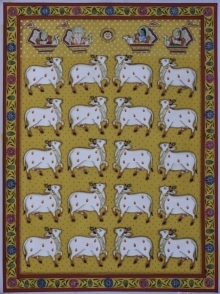 Traditional Indian art title Pichwai 21 on Cotton Cloth - Pichwai Paintings