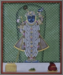 Traditional Indian art title Pichwai 22 on Cotton Cloth - Pichwai Paintings
