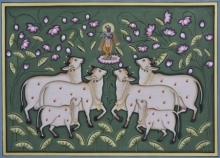 art, traditional, pichwai, cotton cloth, animal, cow