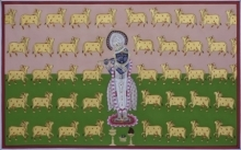 Traditional Indian art title Pichwai 25 on Cotton Cloth - Pichwai Paintings