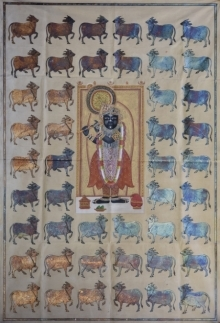 Traditional Indian art title Pichwai 28 on Cotton Cloth - Pichwai Paintings