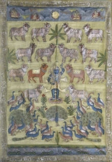 Traditional Indian art title Pichwai 29 on Cotton Cloth - Pichwai Paintings