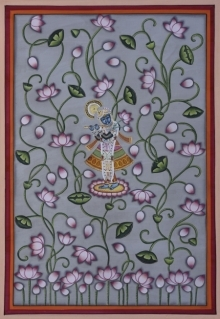 Traditional Indian art title Pichwai 2 on Cotton Cloth - Pichwai Paintings