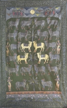 Traditional Indian art title Pichwai 32 on Cotton Cloth - Pichwai Paintings