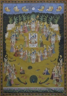 Traditional Indian art title Pichwai 38 on Cotton Cloth - Pichwai Paintings