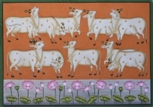 art, traditional art, pichwai, cotton cloth, animal, cows