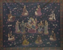Traditional Indian art title Pichwai 40 on Cotton Cloth - Pichwai Paintings