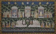 Traditional Indian art title Pichwai 43 on Cotton Cloth - Pichwai Paintings