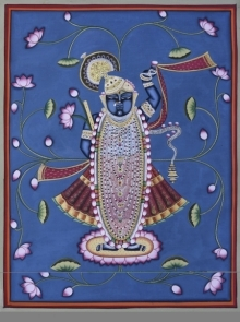 Traditional Indian art title Pichwai 4 on Cotton Cloth - Pichwai Paintings