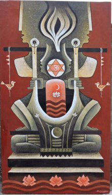Religious Acrylic Art Painting title God2 by artist Binay Polley