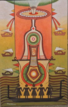 Religious Acrylic Art Painting title God1 by artist Binay Polley