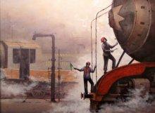 Cityscape Acrylic Art Painting title Locomotive10 by artist Kishore Pratim Biswas