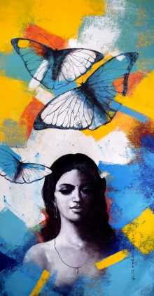 Figurative Acrylic Art Painting title Freedom of beauty 11 by artist Kishore Pratim Biswas