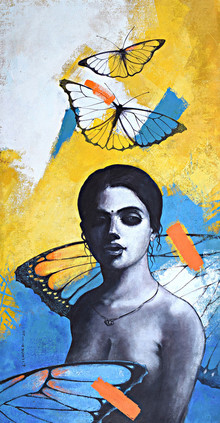 Figurative Acrylic Art Painting title She 17 by artist Kishore Pratim Biswas