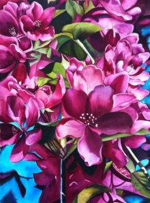 Nature Watercolor Art Painting title 'Clad In Pink' by artist Shagufta Mehdi