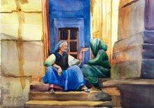 Shagufta Mehdi | Watercolor Painting title Gossip on Paper | Artist Shagufta Mehdi Gallery | ArtZolo.com