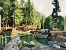 Shagufta Mehdi | Oil Painting title Kashmir on canvas | Artist Shagufta Mehdi Gallery | ArtZolo.com