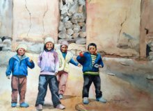 Figurative Watercolor Art Painting title 'Ladakh' by artist Shagufta Mehdi