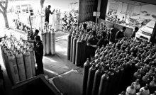 Rahmat Nugroho | Industrial gas store Photography Prints by artist Rahmat Nugroho | Photo Prints On Canvas, Paper | ArtZolo.com
