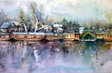 Landscape Watercolor Art Painting title 'Dal Lake' by artist Asit Singh