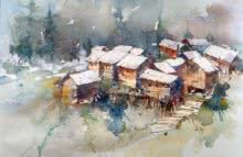 Asit Singh | Watercolor Painting title Gurez Valley Kashmir on Paper | Artist Asit Singh Gallery | ArtZolo.com