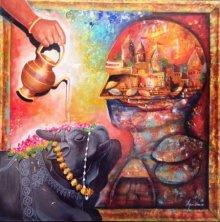 Arjun Das | Acrylic Painting title Banarash Ghat 2 on Canvas | Artist Arjun Das Gallery | ArtZolo.com